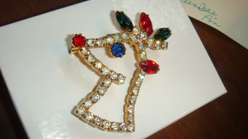Rhinestone Christmas Rudolph REINDEER Pin Book Piece Brooch Figural Prong Set