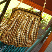 Vintage Child Size or Large Doll Whiting Davis Gold Mesh Purse Handbag