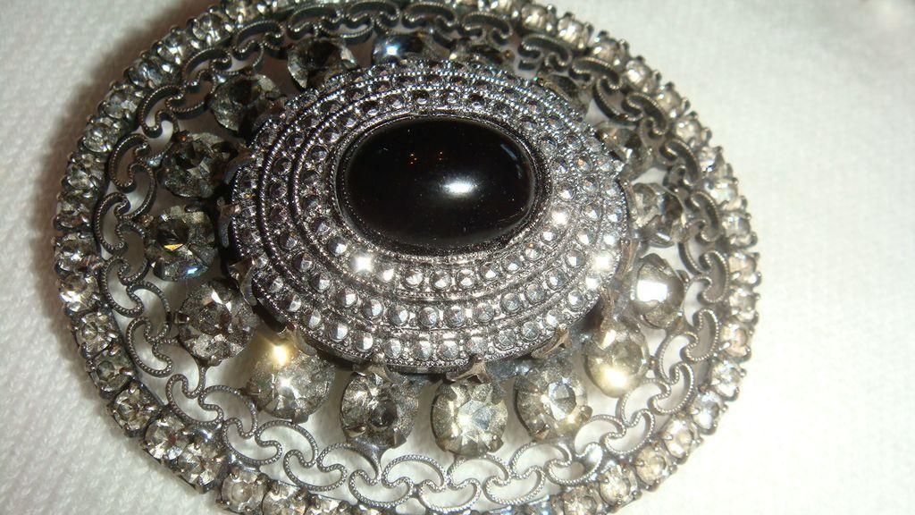 Jeanne Victorian Revival Brooch Marcasites, Smoky Rhinestones, Cabochon, Filigree
