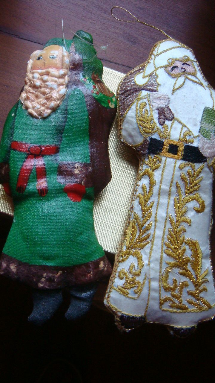 2 Vintage Christmas Santa Ornaments Embroidery & Painted Gold Threads Victorian Style