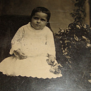 Large Tintype (5 x 7), Adorable Baby  Long Gown, High Top Shoes, Pierced Earrings, Flowers
