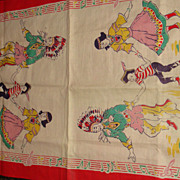 Vintage Linen Towel or Scarf Mirrored Native American Indians Dancing to Music Border Colorful! - Red Tag Sale Item