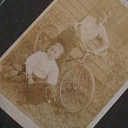 CDV Size Matted Photo Card 2 Boys, Dog & Old Bicycle, Brothers, Alfafa Hairstyles