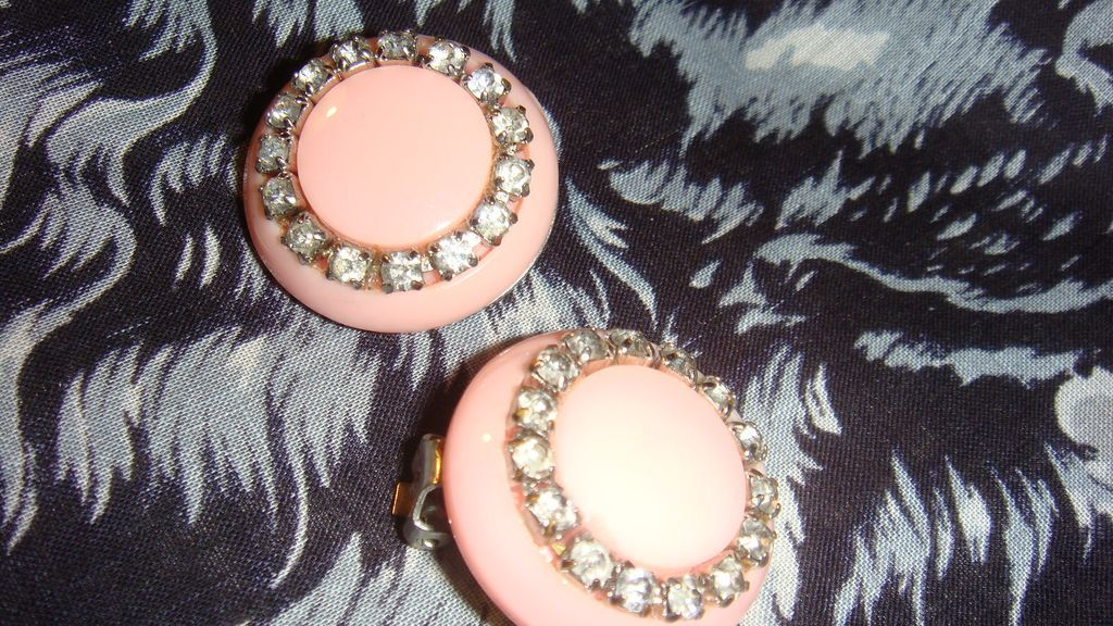 Lucite or Thermoplastic Rhinestone Vintage Button Style Clip Earrings