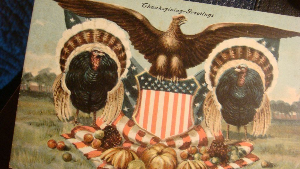 Patriotic Thanksgiving 1908 Signed Postcard American Eagle, Shield, Turkeys, Pumpkins, Flag