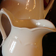 """Heart Embossed Carr China White Ironstone Pitcher 6 1/2"""" West Virginia"""