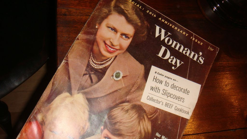 1957 Woman's Day Magazine 'Her Majesty, A Mother,' Queen Elizabeth 20th Anniversary Advertisements