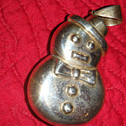 Sterling Silver Puffy Snowman Pendant Seasonal Winter / Christmas 925
