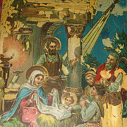 1922 Gel Christmas Postcard Nativity Mary, Joseph, Jesus, Wise Men, Star in East, Bethlehem