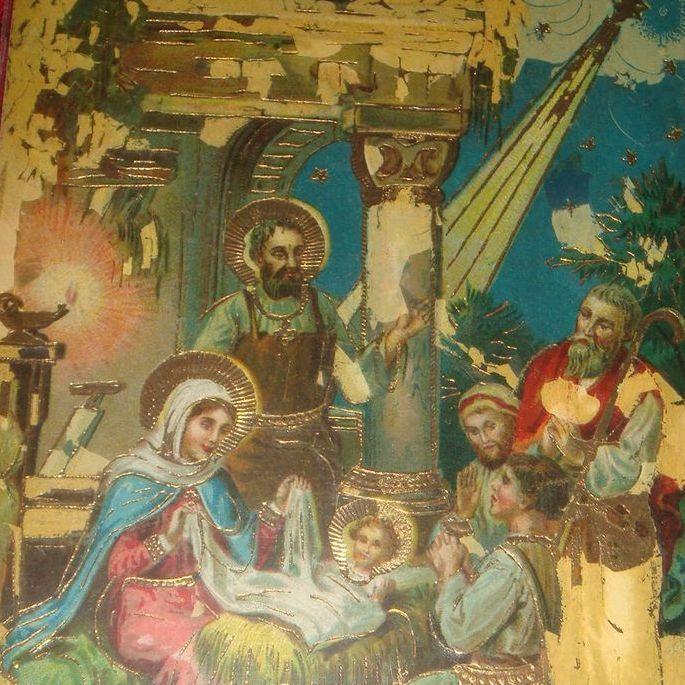 1922 Gel Christmas Postcard Nativity Mary, Joseph, Jesus, Wise Men, Star in East, Bethlehem