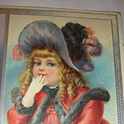 1907 Embossed Christmas Postcard Beautiful Young Victorian Girl Hat, Fur, Gloves, Interesting Message