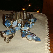 Vintage Bracelet & Earrings Art Glass Silver Tone Blues