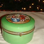 CZECH Glass Hinged Dresser Jar With Powder & Victorian Romantic Scene Gold Gilding