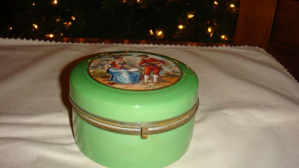 CZECH Glass Hinged Dresser Jar With Powder & Victorian Romantic Scene Gold Gilding