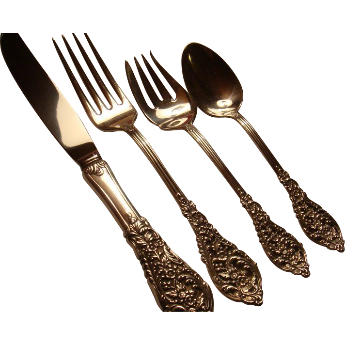 Reed & Barton Sterling Silver Pierced Florentine Lace 4 Piece Dinner Place Setting 1951