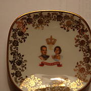 Miniature Gold Leaf Limoges France Royalty Dish Monaco Princess Grace Prince Rainier