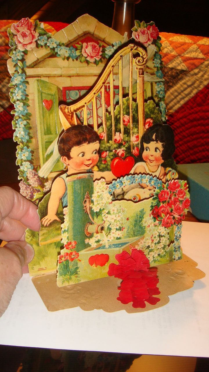 Early Die Cut 3 Dimensional Mechanical Valentine Roses, Hearts, Children, Harp