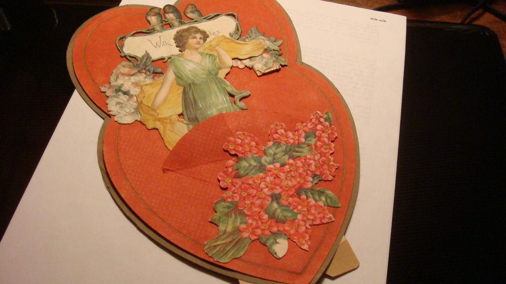 1916 Die Cut Stand Up Double Heart Valentine Birds, Roses, Appears Homemade