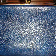 Deep Navy Blue Vintage LBF England Leather Clutch Purse Handbag With Brass Kissing Lock Latch