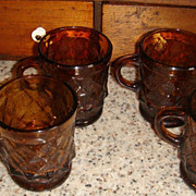 Excellent Fire King Anchor Hocking Amber Kimberly Mug(s) Dot & Diamond