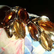 Cognac & Topaz Colored Marquise Faceted Stones & Leaf Vintage Earrings