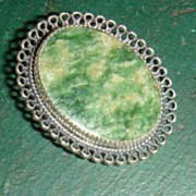 BEAU Sterling Brooch Pin Bezel Set Jadite or Agate Lacy Filigree Look