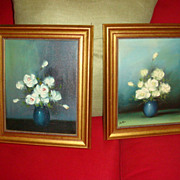 Pair Framed White Roses Oil Paintings From Germany  1980's KY Estate