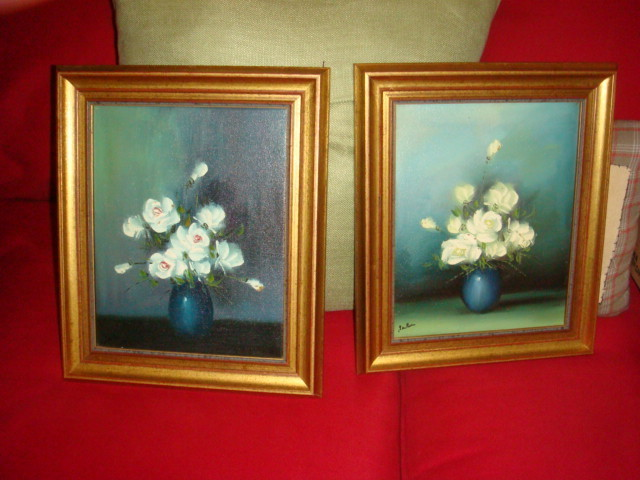 Pair of Oil Paintings White Roses Antiqued Frame From Germany 1980's KY Estate