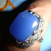 Art Deco Sterling Silver  Blue Chalcedony Marcasites Ring Marked Germany