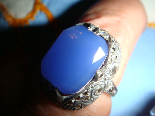 Art Deco Sterling Blue Chalcedony Marcasites Ring Marked Germany