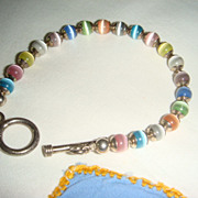 Vintage Sterling Silver Pastel Glass Beads Bracelet Like Moonstone Toggle Clasp