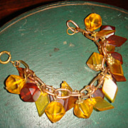 Chunky Bakelite Celluloid Charm Bracelet Prystal Root Beer, Apple Juice, Brass End Caps