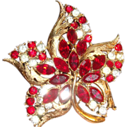 CORO Star Flower Brooch Ruby Red Marquise & Clear Rhinestones