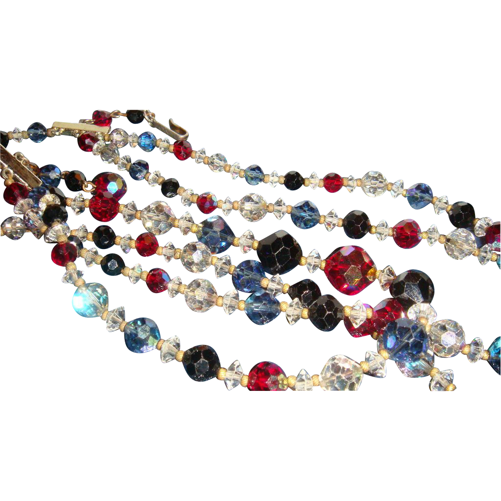 Triple Strand Laguna Sparkling Faceted Crystals Necklace 4 Colors Aurora Borealis