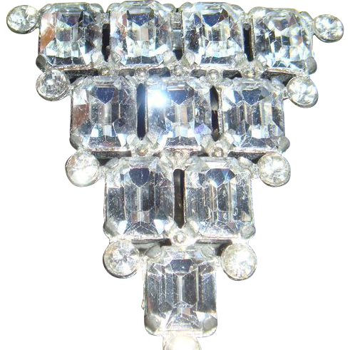 Early Emerald Cut Sparkling Rhinestone Dress or Fur Clip