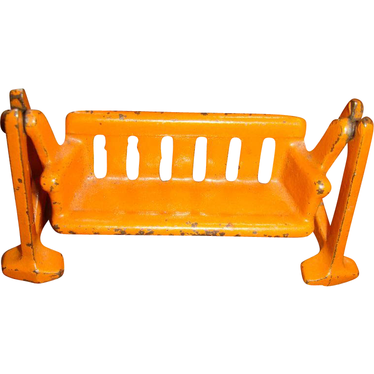 Kilgore Cast Iron Dollhouse Cast Iron Swing Glider 1920's-30's Orange Chippy Paint Toys That Last