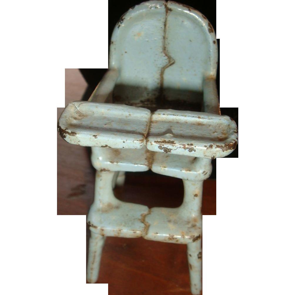 Primitive Kilgore Cast Iron Dollhouse High Chair 1920's-30's