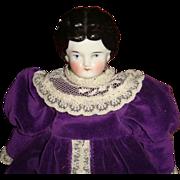 Early Germany China Head Doll  11 1/2 Inch Velvet Lace Dress Satin Pantaloons