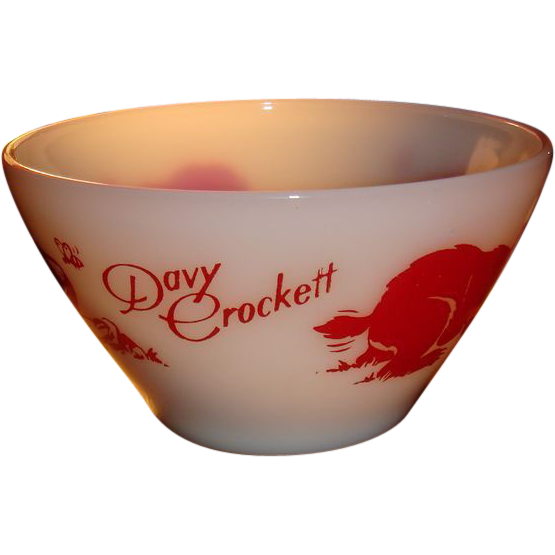 Davy Crockett Fire King Bowl With Slanted Sides Great Red Graphics