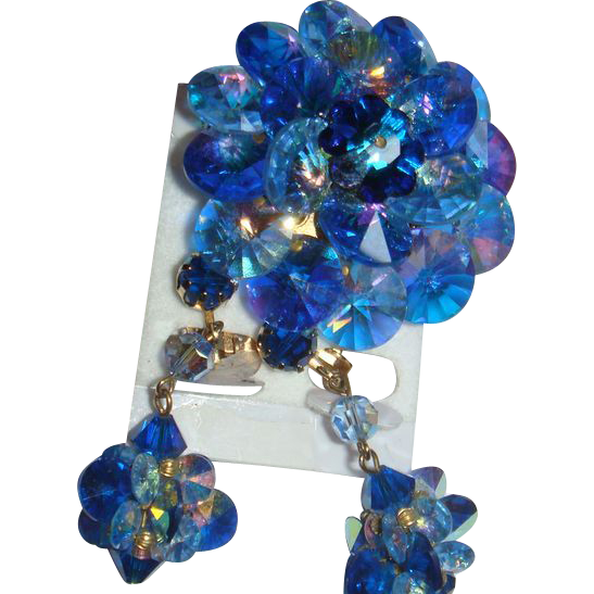 Austrian Crystals Blue Rivoli Aurora Borealis Brooch Dangle Earrings