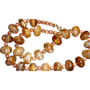 Caramel & Chocolate Swirl Mushroom Shaped Lucite Bead Necklace