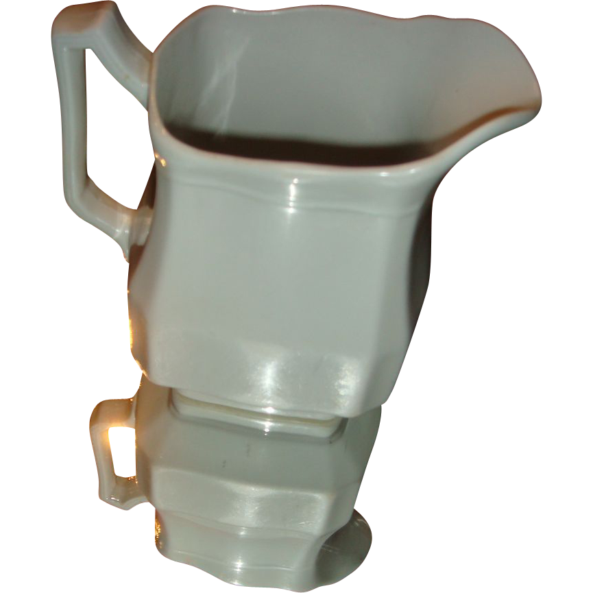 J & G Meakin White Ironstone Pitcher Block Optic Pattern Hanley, England