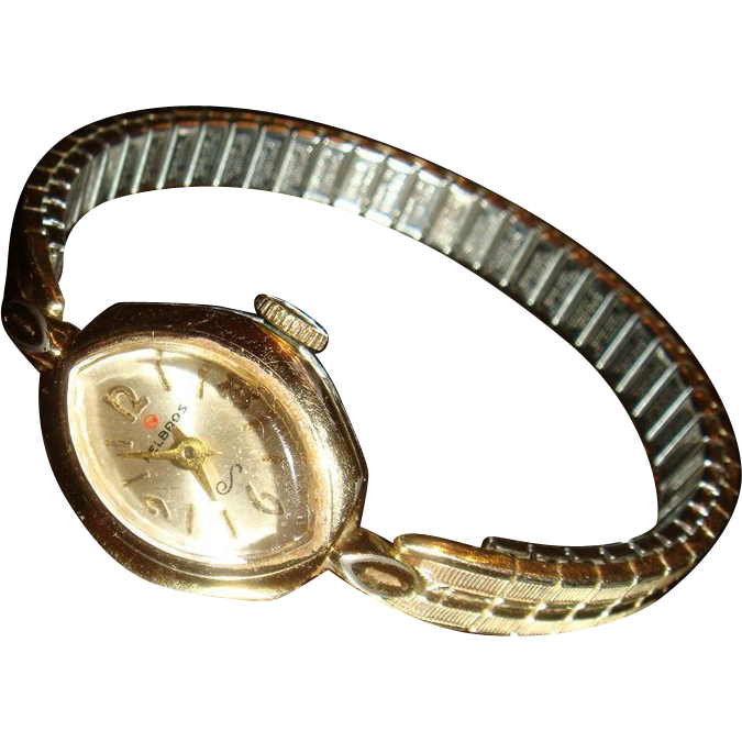 Marquise Shaped Face Helbros Vintage Manual Wind Watch Keeping Time