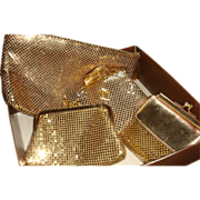 4 Pieces Whiting Davis Slinky Gold Mesh Handbags Clutch, Wallets, Coin KY Estate