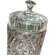 ON HOLD Pinwheel Biscuit Jar Fine Lead Crystal 1980's