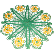 Large Emerald Green and Golden Yellow Hand Crocheted Table Cover Doily Heart Shaped Petals