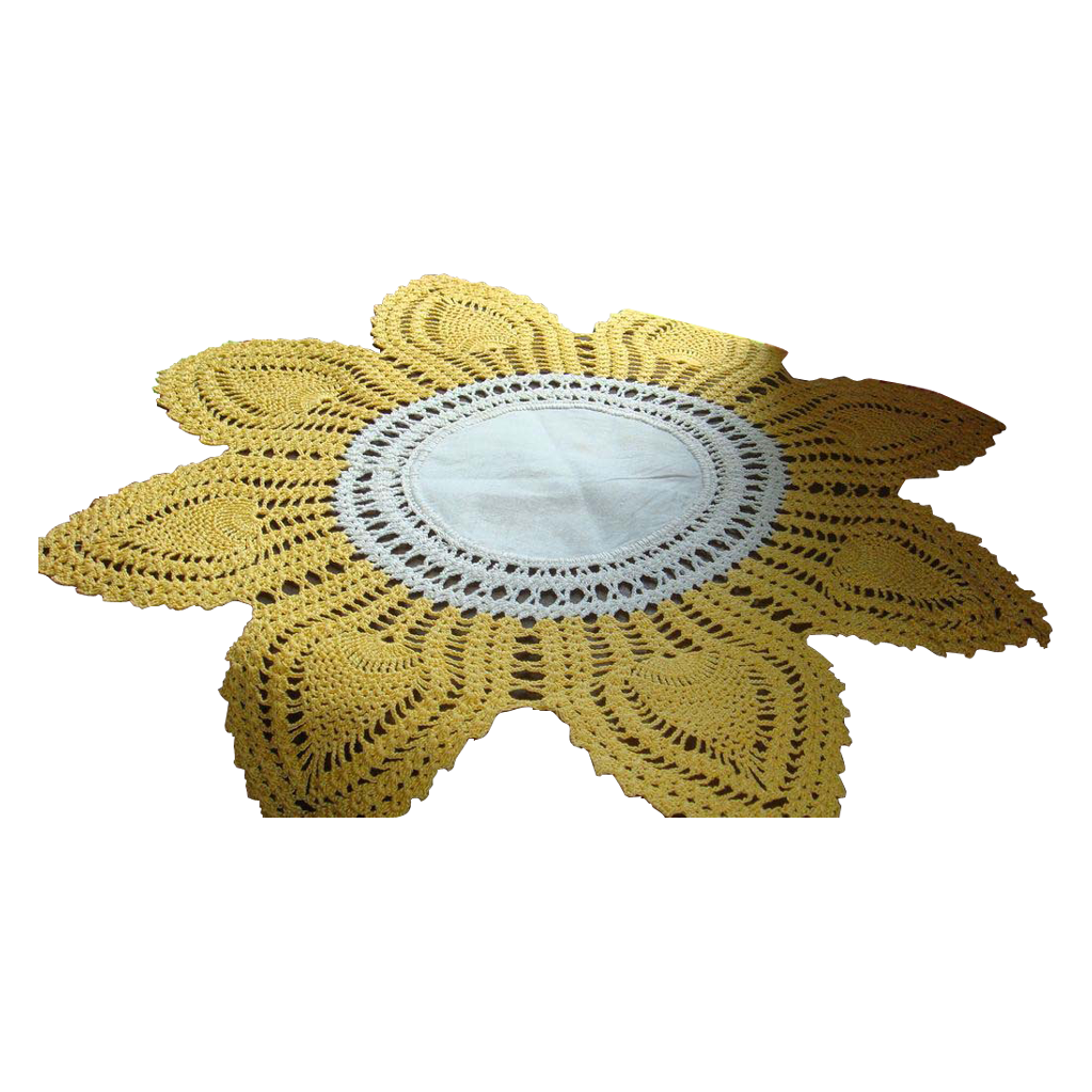 "Golden Yellow and Creamy White 15 1/2"" 8 Petal Crocheted Lamp Doily Table Linen"