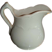 K T & K White Ironstone China Small Heart Embossed Pitcher Near Mint