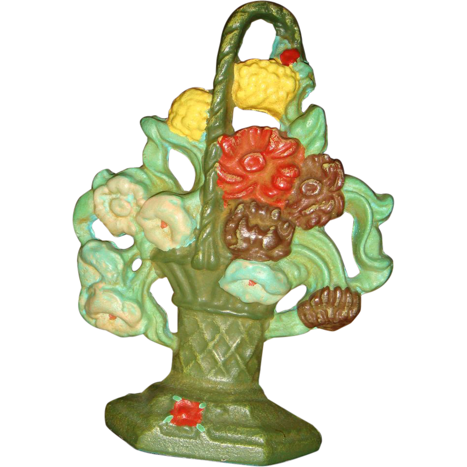 Cast Iron Basket of Colorful Flowers Doorstop Door Stop