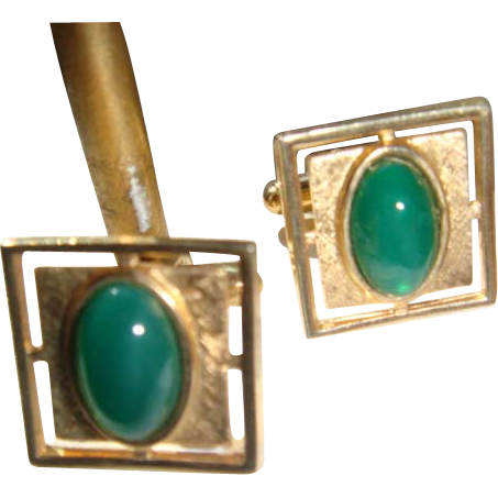 Anson Vintage Cufflinks Deep Jade Green Chrysophase Cabochon